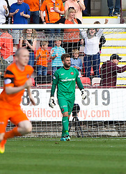 Dundee United's keeper Cammy Bell after he had saved Dunfermline's third penalty taken by Pal McMullan half time : Dunfermline 0 v 1  United, Scottish Championship game played 10/9/2016 at East End Park.
