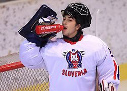 Goalkeeper Matevz Grabnar at friendly ice-hockey game between Slovenian National Team U20 and HKMK Bled, before World Championship Division 1, Group A in Herisau, Switzerland, on December 11, 2008, in Bled, Slovenia. (Photo by Vid Ponikvar / Sportida)