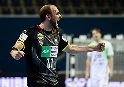 Marcel Schiller of Germany reacts during handball match between National Teams of Germany and Slovenia at Day 2 of IHF Men's Tokyo Olympic  Qualification tournament, on March 13, 2021 in Max-Schmeling-Halle, Berlin, Germany. Photo by Vid Ponikvar / Sportida