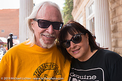 Bev and Arlen Ness at the Franklyn Hotel on Main Street in Deadwood during the annual Sturgis Black Hills Motorcycle Rally. Deadwood, SD, USA. Monday August 7, 2017.  Photography ©2017 Michael Lichter.