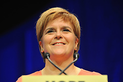 Pictured: Party leader and First Minister Nicola Sturgeon delivers the keynote address at the final day of the SNP conference in Glasgow.<br /> <br /> © Dave Johnston / EEm