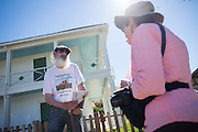Kraig Bunnell talks about the historic Alviso Adobe home, where he used to farm apricots as a child, during the Milpitas Historical Society's Community Tour at Alviso Adobe Park in Milpitas, California, on June 28, 2014. (Stan Olszewski/SOSKIphoto)