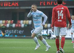 Jeppe Kjær (FC Helsingør) jubler efter udligningen til 2-2 under kampen i 1. Division mellem Silkeborg IF og FC Helsingør den 21. november 2020 i JYSK Park (Foto: Claus Birch).