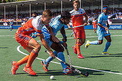 (L-R) Thijs van Dam of The Netherlands, Amit Rohidas of India during the Champions Trophy match between the Netherlands and India on the fields of BH&BC Breda on June 30, 2018 in Breda, the Netherlands