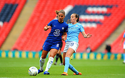 Melanie Leupolz of Chelsea Women applies pressure on Caroline Weir of Manchester City Women- Mandatory by-line: Nizaam Jones/JMP - 29/08/2020 - FOOTBALL - Wembley Stadium - London, England - Chelsea v Manchester City - FA Women's Community Shield