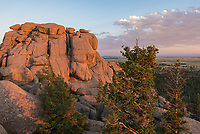 Vedauwoo is a scenic spot filled with interesting rocky outcrops, located in between Cheyenne and Laramie. The area is popular with climbers. The last light of the day was casting a soft golden glow across the granite.