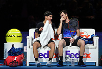 Tennis - 2018 Nitto ATP Finals at The O2 - Day One<br /> <br /> Group Doubles Group Llodra/Santoro: Jamie Murray (GB) & Bruno Soares (Bra) vs. Raven Klaasen (SA) & Michael Venus (NZ)<br /> <br /> Murray in discussion with Soares during a change of ends.<br /> <br /> COLORSPORT/ASHLEY WESTERN