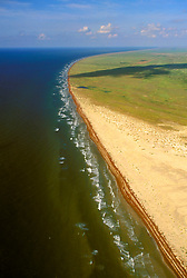 Aerial view of the South Padre shoerline