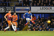 Portsmouth Midfielder, Matty Kennedy (11) with a shot at goal during the EFL Sky Bet League 1 match between Portsmouth and Northampton Town at Fratton Park, Portsmouth, England on 30 December 2017. Photo by Adam Rivers.