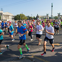 Participants run on Heroes square during the Budapest Half Marathon in Budapest, Hungary on September 13, 2015. ATTILA VOLGYI