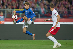 October 14, 2018 - Chorzow, Poland - Nicolo Barella (ITA), Jan Bednarek (POL) in action during the UEFA Nations League A group three match between Poland and Italy at Silesian Stadium on October 14, 2018 in Chorzow, Poland. (Credit Image: © Foto Olimpik/NurPhoto via ZUMA Press)