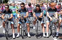 La squadra Leopard  alla partenza<br /> Team Leopard pause before the start in memory of the death of their colleague Wouter Weylandt<br /> Giro d'Italia 2011 - Tappa 4: Genova Livorno<br /> Genova, 10/05/2011<br /> © Giorgio Perottino / Insidefoto <br /> Ciclismo Cycling