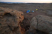 Tents at  a wilderness campsite on BLM land near Factory Butte, Utah.