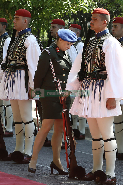 June 23, 2017 - Athens, Greece - A female officer inspects the Presidential guard before the official reception ceremony of Boulgarian President Rumen Radev, in Athens on June 23, 2017. (Credit Image: © Panayotis Tzamaros/NurPhoto via ZUMA Press)
