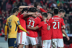 December 23, 2018 - Lisbon, Portugal - Benfica's Portuguese defender Andre Almeida celebrates with teammates after scoring during the Portuguese League football match SL Benfica vs SC Braga at the Luz stadium in Lisbon on December 23, 2018. (Credit Image: © Pedro Fiuza/ZUMA Wire)