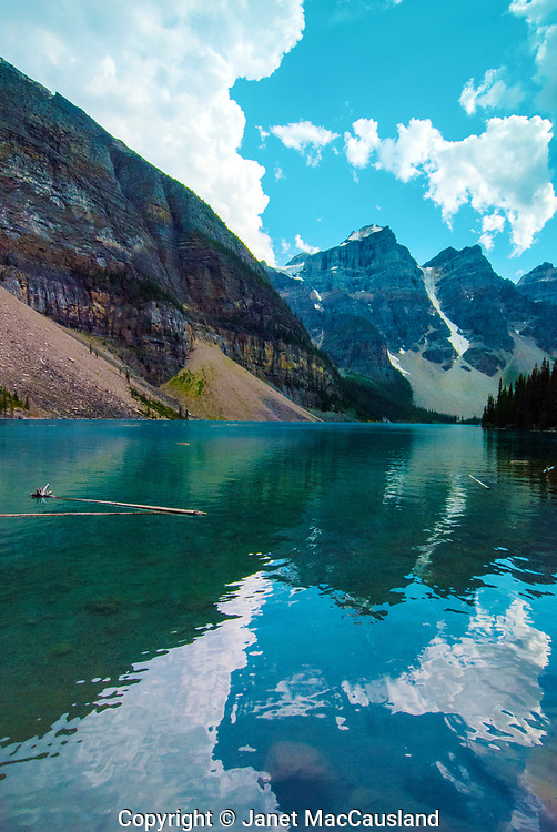Moraine Lake is a azure blue gem in the Canadian Rocjies.