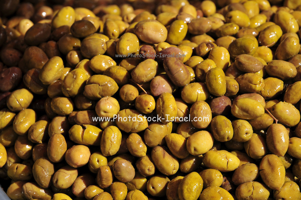 Processed green olives ready to eat