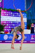 Vladinova Neviana during the qualifying hoop at the Pesaro World Cup 2018. Neviana come from Bulgaria. She is born in Pleven in 1994. Her dream is to win a medal at the 2020 Olympic Games in Tokyo.