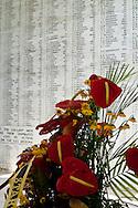 Floral wreath at the Wall of Names at the USS Arizona Memorial, Pearl Harbor, Oahu, Hawaii
