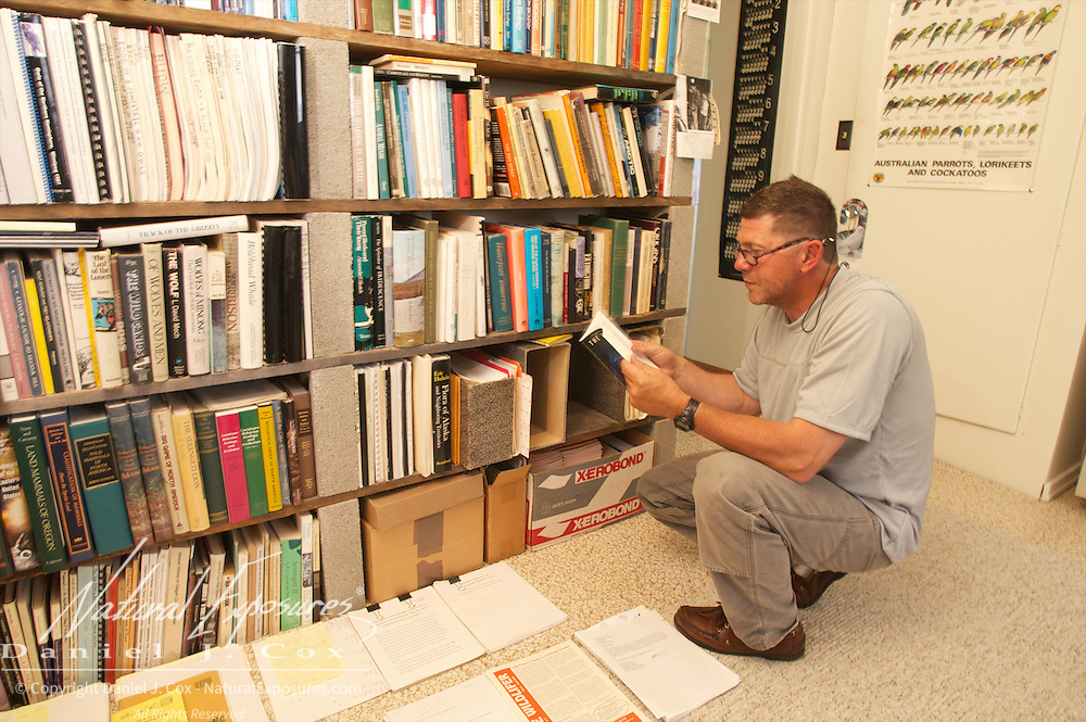 Denver Holt in his library at his home in Charlo, Montana