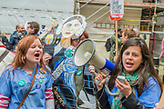 A cardboard Florencs Nightingale joins the Nurses and doctors as they march on the department of health in Whitehall - The picket line at St Thomas' Hospital. Junior Doctors stage another 48 hours of strike action against the new contracts due to be imposed by the Governemnt and health minister Jeremy Hunt.