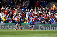 Crystal Palace players celebrate a goal  from Crystal Palace striker Christian Benteke (score 2-0) during the Premier League match between Crystal Palace and Hull City at Selhurst Park, London, England on 14 May 2017. Photo by Andy Walter.