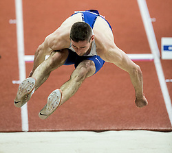 Liam Ramsay of Great Britain competes in the Heptathlon Long Jump Men on day two of the 2017 European Athletics Indoor Championships at the Kombank Arena on March 4, 2017 in Belgrade, Serbia. Photo by Vid Ponikvar / Sportida