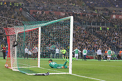 May 9, 2018 - Rome, Lazio, Italy - Gianluigi Donnarumma (AC Milan) disappointed after the second goal of Mehdi Benatia (Juventus FC) during the Italian Cup final match between Juventus FC and AC Milan at Stadio Olimpico on May 09, 2018 in Rome, Italy. .Juventus won 4-0 over Milan. (Credit Image: © Massimiliano Ferraro/NurPhoto via ZUMA Press)