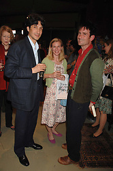 Left to right, CARLOS VILLANUEVA BRANDT, SARAH LONG and FRANCIS FRY at a party to celebrate the publication of 'The Scent Trail' by Celia Lyttelton held at the London Studio of Paul Benney, 760 Harrow Road, London NW10 on 10th July 2007.<br /><br />NON EXCLUSIVE - WORLD RIGHTS