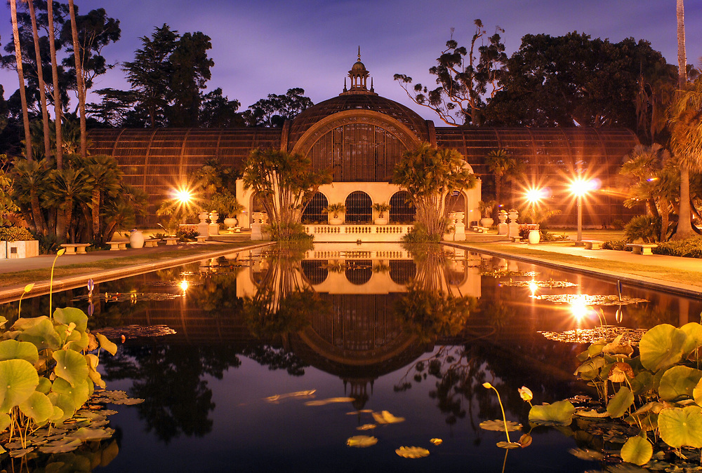 The Botanical Gardens in Balboa Park is lit under the night sky of San Diego, CA. Created for the Panama-California International Expo from 1915-17.