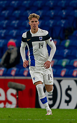 CARDIFF, WALES - Wednesday, November 18, 2020: Finland's substitute Onni Valakari during the UEFA Nations League Group Stage League B Group 4 match between Wales and Finland at the Cardiff City Stadium. Wales won 3-1 and finished top of Group 4, winning promotion to League A. (Pic by David Rawcliffe/Propaganda)