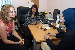 Medical student training with GP in doctors clinic Yorkshire UK