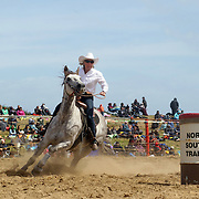 Toni McLachlan from Te Anau in action during the Open Barrel Race at the Southland Rodeo, Invercargill,  New Zealand. 29th January 2012