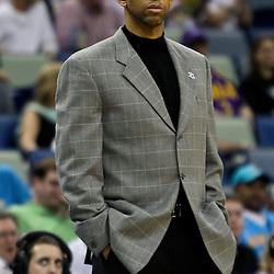 April 11, 2011; New Orleans, LA, USA; New Orleans Hornets head coach Monty Williams against the Utah Jazz during a game at the New Orleans Arena. The Jazz defeated the Hornets 90-78.  Mandatory Credit: Derick E. Hingle