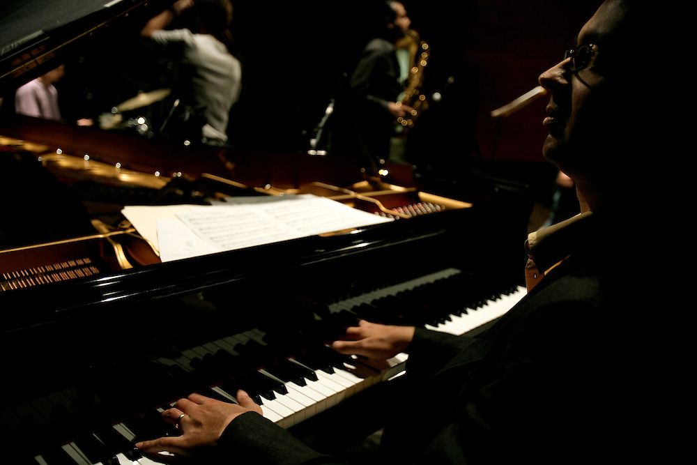 """Piano player Vijay Iver during sound-check. """"Jazz ao Centro"""" jazz festival is held twice a year in portuguese town of Coimbra."""