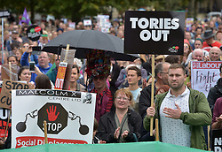 September 9, 2017 - Bristol, Bristol, UK - Bristol, UK. Bristol March Against Austerity. Bristol's elected Mayor Marvin Rees and Bristol People's Assembly have called a march and rally against the severe cuts in local government funding that Bristol City Council is facing from central government. A coalition of organisations, led by Bristol People's Assembly, have come together to send a powerful message to the Conservative Government to give Bristol and other cities the funding need to keep vital public services. Mayor Rees will take part in a delegation of core UK cities to lobby the Government on Tuesday 12 September..Speakers at the Bristol rally include Owen Jones. Picture credit : Simon Chapman/LNP (Credit Image: © Simon Chapman/London News Pictures via ZUMA Wire)