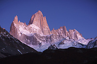Twilight glow on the Fitz Roy Massif, Los Glaciares National Park, Argentina