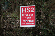 A sign indicating the route of the HS2 high-speed rail link is pictured on 18th March 2021 in Wendover, United Kingdom. Considerable ground clearance work is currently taking place between Great Missenden and Wendover to the north of the Chiltern tunnel section of the £106bn HS2 high-speed rail link.