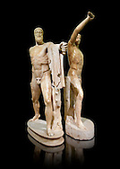 2nd century AD Roman marble sculpture of Harmodius (inv 6009) and Aristogeiton (inv 6010) known as the Tyrannicide group, inv 6307, a Roman copy of an early classical period Geek original, Naples Museum of Archaeology, Italy ..<br /> <br /> If you prefer to buy from our ALAMY STOCK LIBRARY page at https://www.alamy.com/portfolio/paul-williams-funkystock/greco-roman-sculptures.html . Type -    Naples    - into LOWER SEARCH WITHIN GALLERY box - Refine search by adding a subject, place, background colour, etc.<br /> <br /> Visit our ROMAN WORLD PHOTO COLLECTIONS for more photos to download or buy as wall art prints https://funkystock.photoshelter.com/gallery-collection/The-Romans-Art-Artefacts-Antiquities-Historic-Sites-Pictures-Images/C0000r2uLJJo9_s0