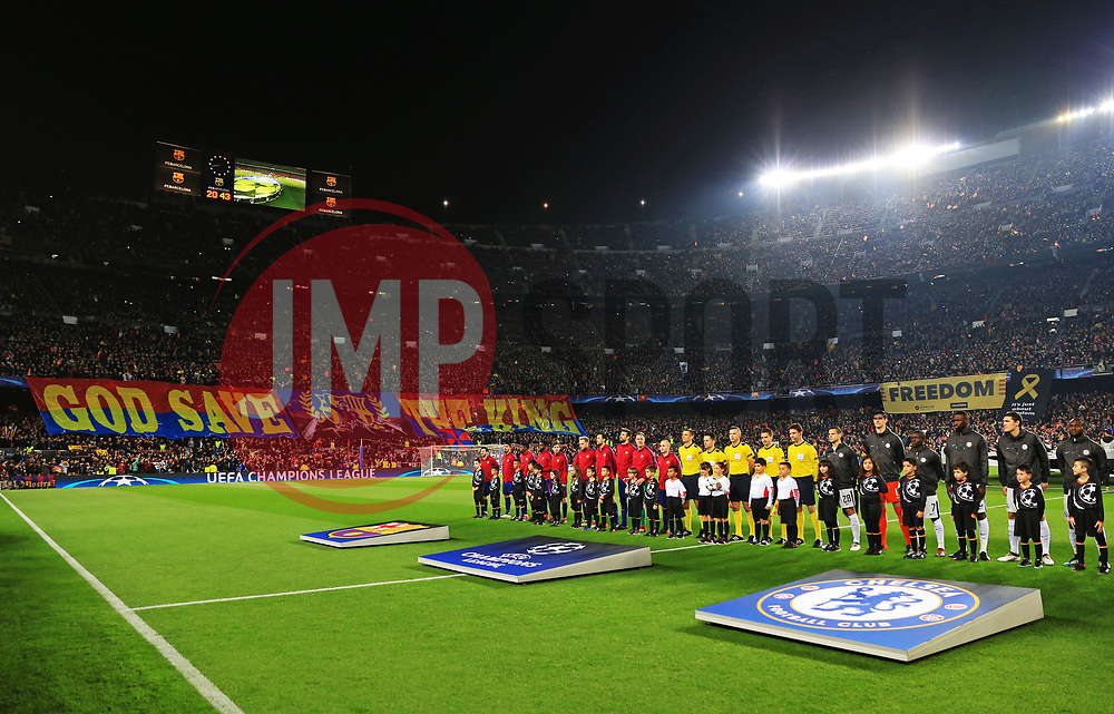 A general view as the players line up in front of a Lionel Messi banner before kick off - Mandatory by-line: Matt McNulty/JMP - 14/03/2018 - FOOTBALL - Camp Nou - Barcelona, Catalonia - Barcelona v Chelsea - UEFA Champions League - Round of 16 Second Leg