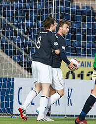 Falkirk's Rory Loy celebrates with team mates after scoring their second goal.<br /> Falkirk 2 v 0 Dundee, Scottish Championship game at The Falkirk Stadium.<br /> © Michael Schofield.