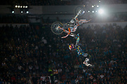 Levi Sherwood performs a trick in Red Bull X-Fighters Mexico 2010. Red Bull X-Fighters is a Professional Freestyle Motocross (FMX) tour. The FMX Tour stops at the most famous cities and historic sites all around the world. Nate Adams (USA), Robbie Maddison (AUS), Andre Villa (NOR), Dany Torres (ESP), Levi Sherwood (NZL) and many more have fascinated hundreds of thousands of fans so far at large bullfighting arenas in Mexico (Mexico City) and Spain (Valencia and Madrid), at the Sphinx of Giza (EGY), the Red Square in Moscow (RUS) as well as in the Brazilian metropolis Rio de Janeiro (BRA) or in the Eternal City of Rome (ITA).