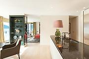 Interior, beautiful modern apartment, elegant living with kitchen