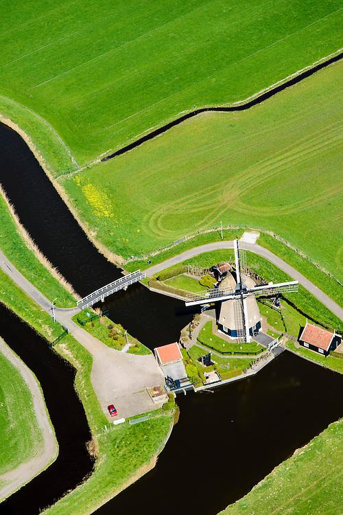 Nederland, Noord-Holland, gemeente Castricum, 20-04-2015; Akersloot, Noordermolen. Poldermolen van de Groot-Limmerpolder.<br /> Polder wind mill near Alkmaar.<br /> luchtfoto (toeslag op standard tarieven);<br /> aerial photo (additional fee required);<br /> copyright foto/photo Siebe Swart