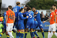 AFC Wimbledon midfielder Tom Soares (19) celebrating after scoring goal to make it 2-0 during the EFL Sky Bet League 1 match between AFC Wimbledon and Southend United at the Cherry Red Records Stadium, Kingston, England on 1 January 2018. Photo by Matthew Redman.