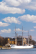 The three mast ship Af Chapman now moored anchored at Skeppsholmen and used as a youth hostel on Strommen Stockholms Strom water Stockholm, Sweden, Sverige, Europe