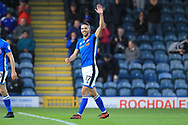 GOAL Bradden Inman celebrates his second goal 3-0 during the The FA Cup match between Rochdale and Bromley at Spotland, Rochdale, England on 4 November 2017. Photo by Daniel Youngs.