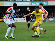 Tareiq Holmes-Dennis on the attack during the Sky Bet League 2 match between Cheltenham Town and Plymouth Argyle at Whaddon Road, Cheltenham, England on 28 March 2015. Photo by Alan Franklin.