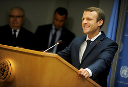 Emmanuel Macron speaks at The United Nations in New York City.