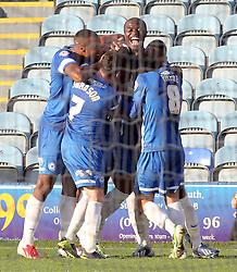Peterborough United's Nathaniel Mendez-Laing celebrates scoring with team-mates - Photo mandatory by-line: Joe Dent/JMP - Tel: Mobile: 07966 386802 19/10/2013 - SPORT - FOOTBALL - London Road Stadium - Peterborough - Peterborough United V Shrewsbury Town - Sky Bet League One